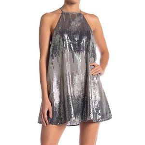 {Show Me Your Mumu} Pewter Sequin Mini Dress sz s